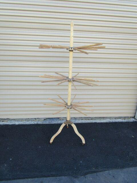 Vtg Antique 3 Level Industrial Wood Drying Clothes Umbrella Factory Rack Casters