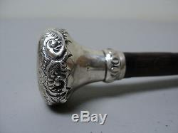 Wonderful Victorian Period Bamboo Umbrella Handle, Embossed Sterling Silver Top