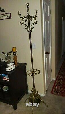 Was 875 ANTIQUE BRASS COAT HAT RACK HALL TREE STAND With UMBRELLA CANE RACK HOLDER