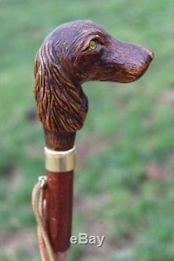 Wonderful Vintage Bojola Umbrella with Carved Dog Handle, Made in Itlay 36 Long