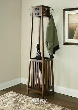 Wood Coat Rack Vintage Entryway Clothes Tower Hanger Wooden Umbrella Stand New